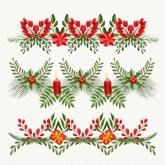 Marcos y bordes navideños en acuarela