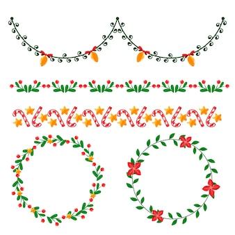 Marcos y bordes navideños dibujados a mano