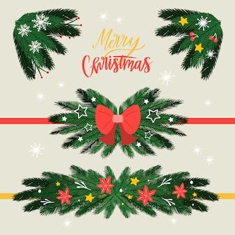 Marcos y bordes navideños en estilo dibujado a mano