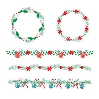 Marcos y bordes navideños tradicionales en diseño plano