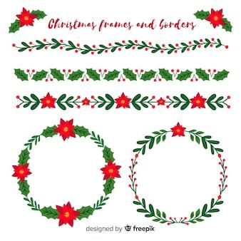 Marcos y bordes planos navideños
