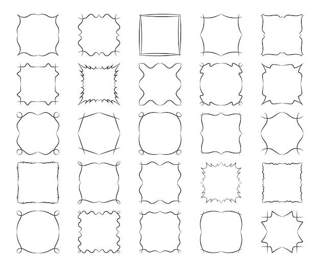 Marcos caligráficos cuadrados retorcidos establecen elementos abstractos