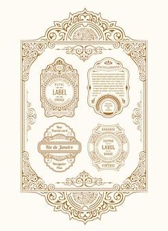 Marcos caligráficos de tarjetas doradas vintage