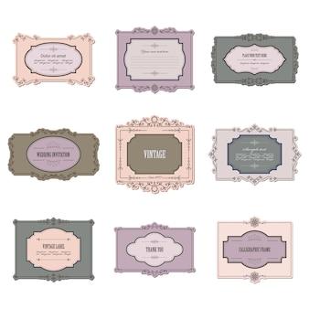 Marcos caligráficos vintage y conjunto de etiquetas.