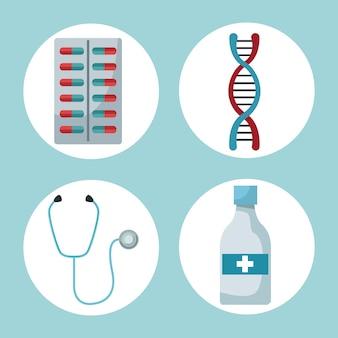 Marcos circulares de medicamentos y elementos de salud
