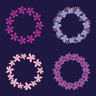 Marcos circulares decoraciones florales.