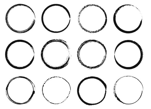 Marcos circulares de grunge, pincel de tinta negra, formas redondas, bordes con textura apenada circular