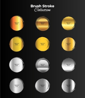 Marcos de círculo de grunge de color oro y plata