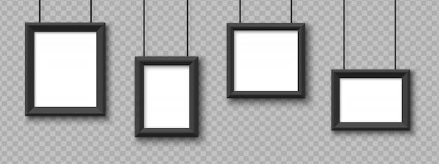 Marcos colgantes en blanco. cuadros, marcos de fotos en fondo transparente