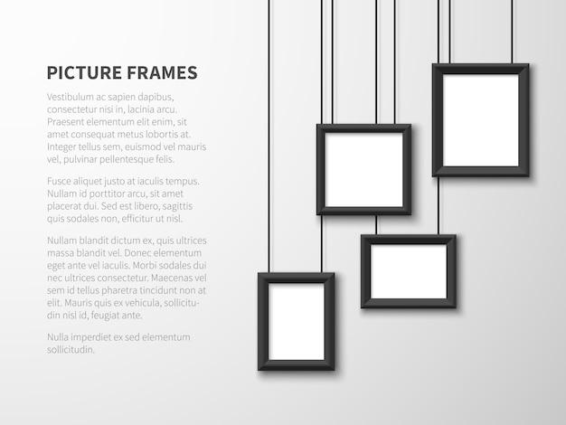 Marcos colgantes en blanco. cuadros, marcos de fotos en la pared de luz. interior contemporáneo del vector