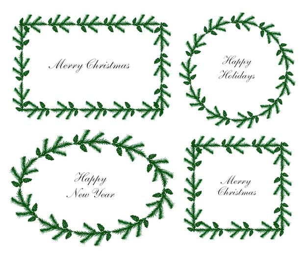 Marcos de corona de abeto navideño establecen diferentes formas