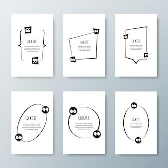 Marcos de cotización. plantilla en blanco con citas de diseño de información impresa.