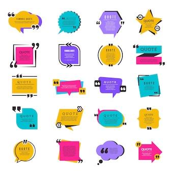 Marcos de cotización. plantilla de letras de elementos de texto de información de papel de cuadro de burbuja de citación de mensajes de texto.