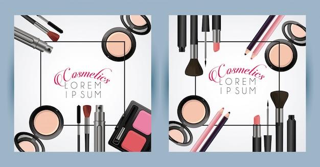 Marcos cuadrados de cosméticos de texto y maquillaje