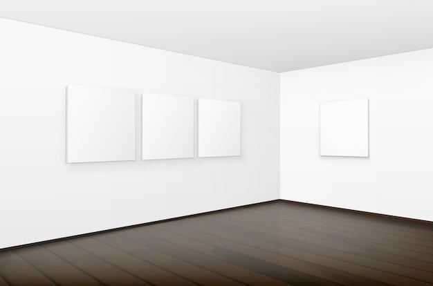 Marcos de cuadros de carteles blancos en blanco vacíos en paredes con piso de madera marrón en la galería