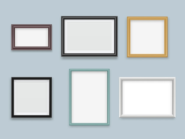 Marcos de cuadros realistas. madera moderna pintura vacía o fotografía marco colección de vectores