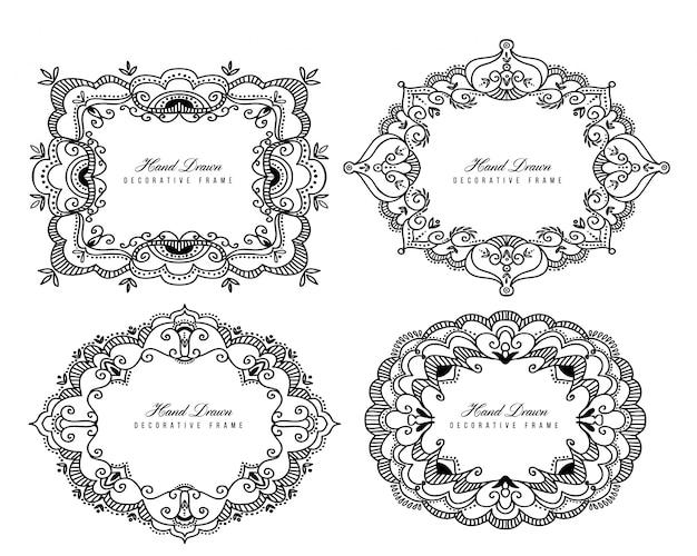 Marcos decorativos clásicos en blanco y negro.
