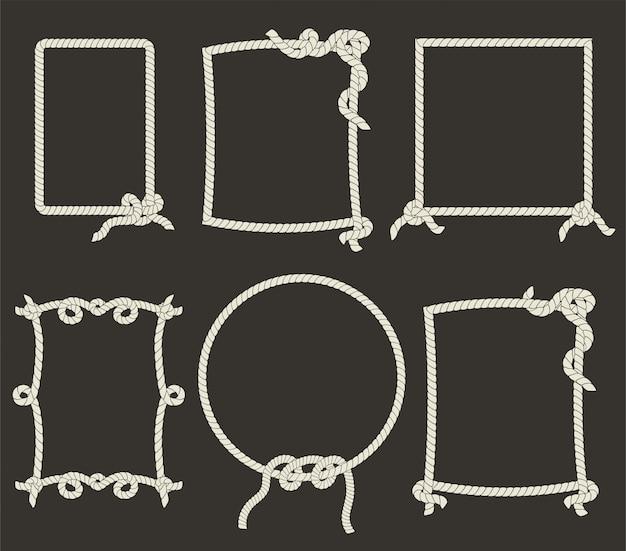 Marcos decorativos de cuerda sobre fondo negro