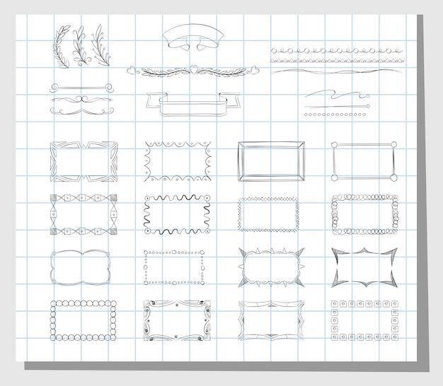 Marcos dibujados a mano de la escuela. elemento de marco de doodle de boceto de diseño, ilustración