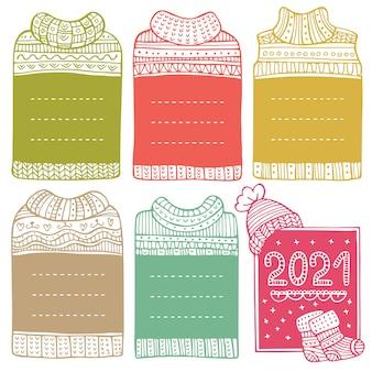 Marcos dibujados a mano en forma de suéteres