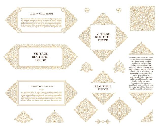 Marcos de diseño de oro árabe hechos de elementos decorativos de lujo vintage