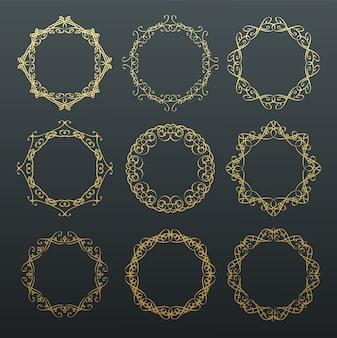 Marcos dorados de caligrafía redonda.