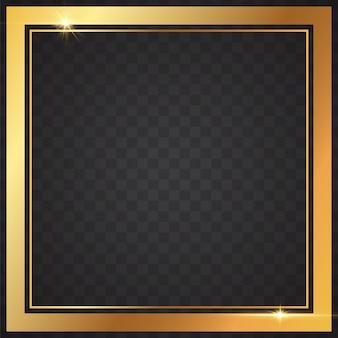 Marcos dorados claros en fondo transparente