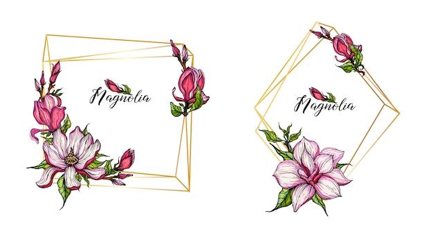 Marcos dorados geométricos dorados con flores de magnolia.