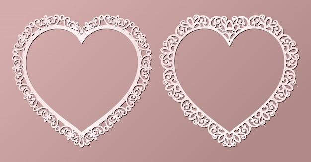 Marcos de encaje de papel cortado con láser en forma de corazón, ilustración. marco de fotos recorte ornamental con patrón.