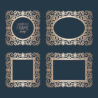 Marcos de encaje de papel cortado con láser, ilustración. conjunto de marco de foto de recorte ornamental, plantilla para cortar. elementos para invitación de boda y tarjeta de felicitación.