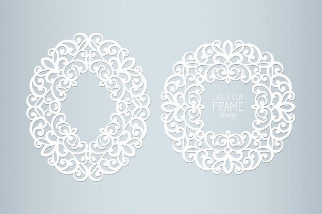 Marcos de encaje de papel cortado con láser, ilustración. marco de fotos de recorte ornamental, plantilla para cortar. elemento para invitación de boda y tarjeta de felicitación.