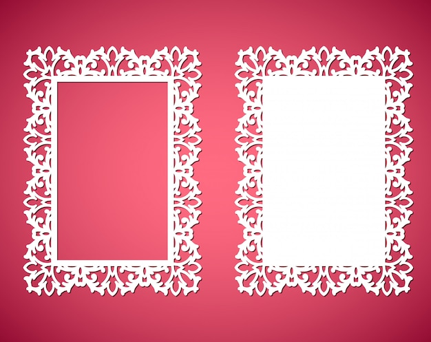 Marcos de encaje de papel cortado con láser, ilustración. marco de fotos recorte ornamental