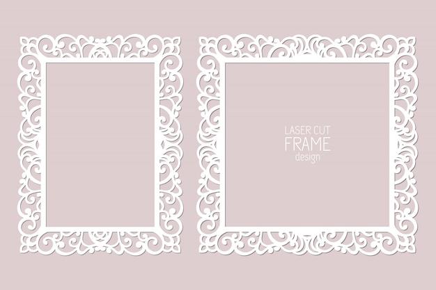 Marcos de encaje de papel cortado con láser, plantilla. marco de fotos recorte ornamental