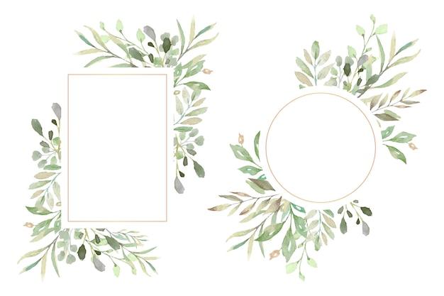 Marcos florales con hermosas hojas de acuarela