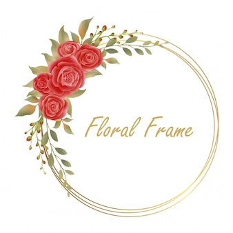Marcos de flores y hojas de acuarela con anillos de oro