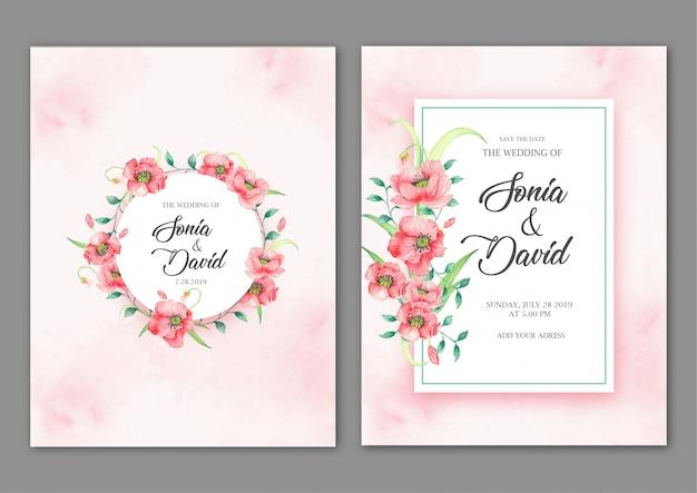 Marcos con flores rosas en tarjeta rosa