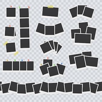 Marcos de fotos en blanco unidos con cinta adhesiva y alfileres