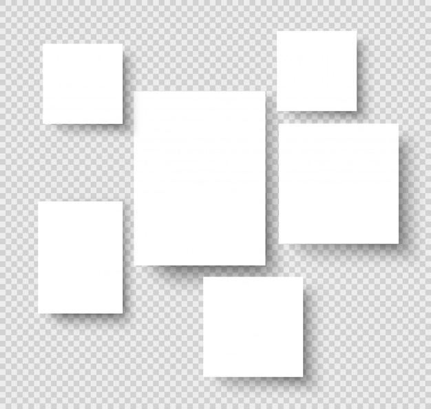 Marcos de fotos colgantes en blanco. galería de imágenes de papel con bordes rectangulares. bosquejo