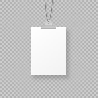 Marcos de fotos colgantes en blanco o plantillas de carteles aislados en el fondo. un conjunto de póster blanco colgado en una carpeta en la pared. marco para una hoja de papel. ilustración.