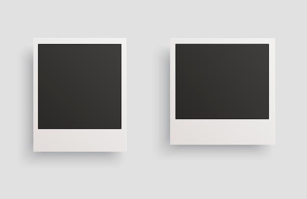 Marcos de fotos cuadrados con sombras aisladas sobre un fondo blanco.