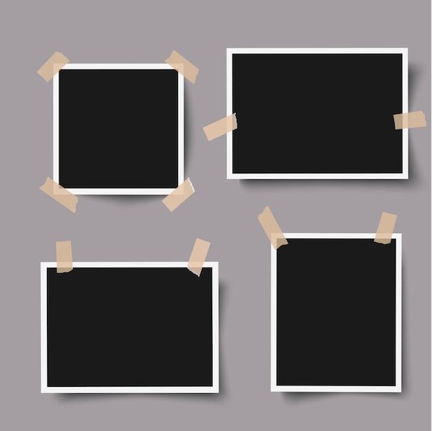 Marcos de fotos realistas con cinta adhesiva