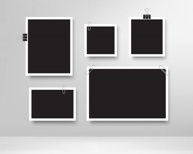 Marcos de fotos realistas con clips de papel.