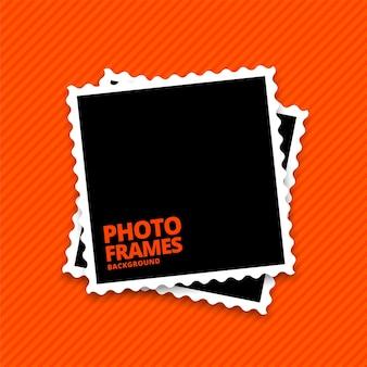 Marcos de fotos realistas sobre fondo naranja