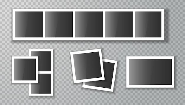 Marcos de fotos vacíos sobre fondo blanco.