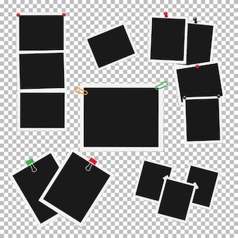 Marcos de fotos vacíos unidos con conjunto de vectores de pines