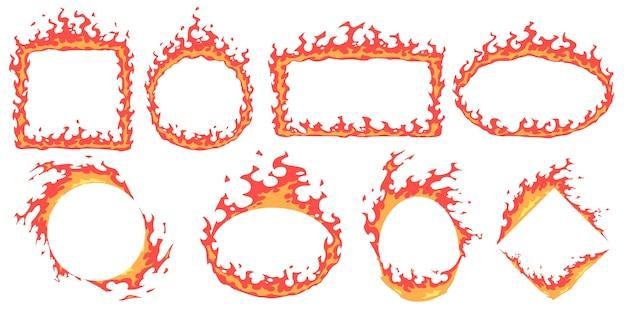 Marcos de fuego de dibujos animados