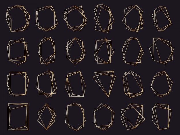 Marcos geométricos dorados. elegantes marcos dorados de lujo, borde de invitación de boda geométrica. conjunto de símbolos abstractos elementos dorados. ilustración asimétrica poligonal, triángulo deluxe