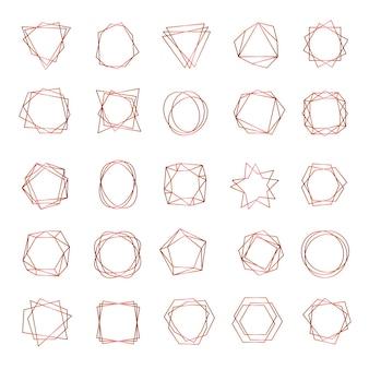 Marcos geométricos. formas poligonales abstractas fronteras elegantes símbolos de elementos de boda.