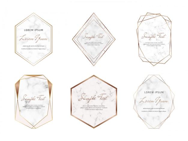 Marcos geométricos de mármol con líneas doradas.