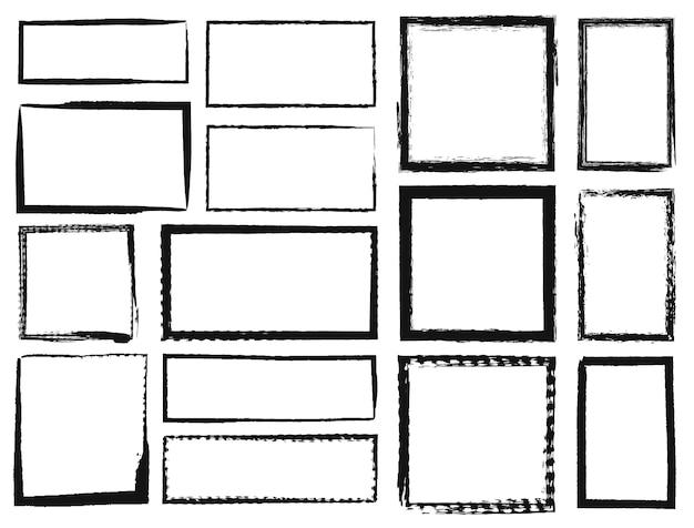 Marcos de grunge bordes de rectángulo cuadrado con textura sucia textura negra grunge trazo de pincel de tinta áspera